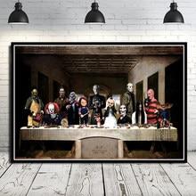 Nt60 freddy jason chucky a última ceia halloween horror cartaz da arte da parede quadros de lona sala estar decoração casa