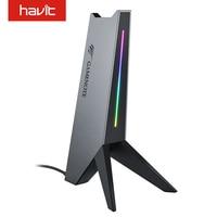 Supporto per cuffie RGB Havit Gamenote con AUX da 3.5mm e doppie porte USB supporto per cuffie con gancio per cuffie progettato da gioco, nero