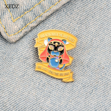 XEDZ Yellow ribbon horror black face doll remember bad time text enamel brooch boys and girls denim clothes pendant jewelry gift