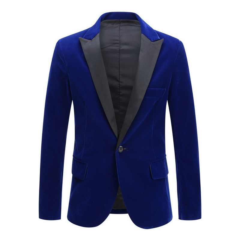 Pria 2020 Baru Musim Semi Beludru Merah Anggur Hitam Fashion Leisure Suit Jaket Pernikahan Pengantin Pria Penyanyi Slim Fit Blazer Hombre masculino
