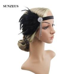 Plumes noires bandeau élastique coiffe de mariage perlé gland charmant bal danse cheveux accessoires BQ088