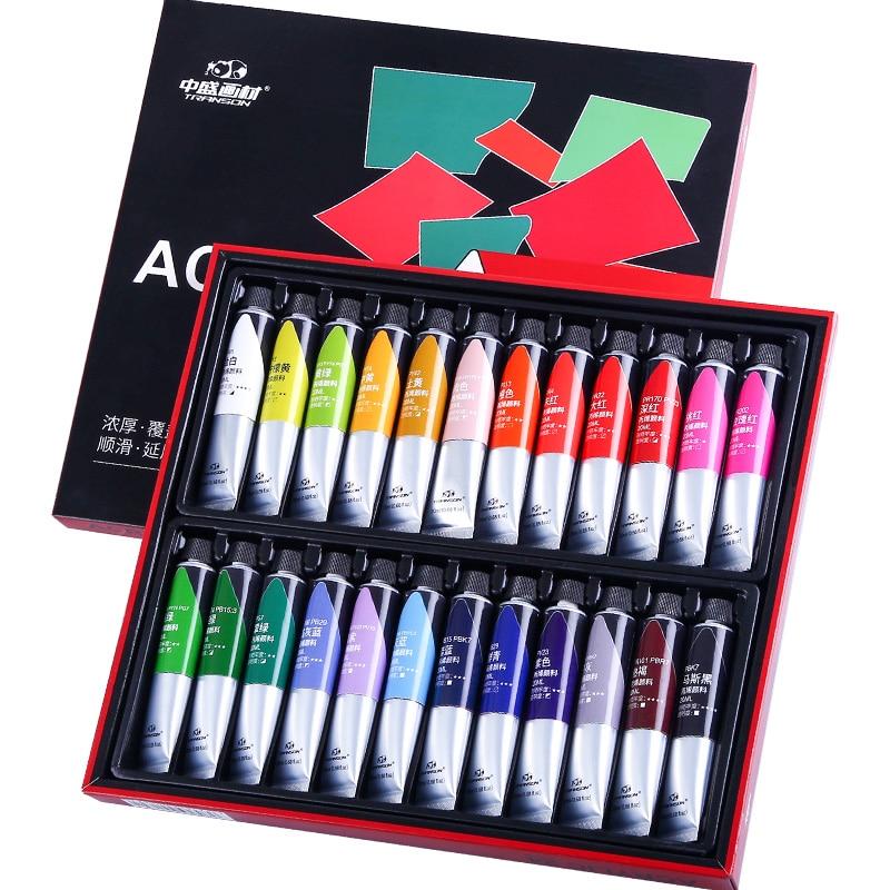 12/24 cores profissional pintura acrílica 20ml desenho pintura pigmento pintados à mão para crianças artista diy