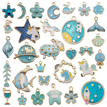 31pcs Enamel Charms Flower Plants Star Butterfly Crown Pendants Accessories for Bracelet Necklace Earrings Jewelry Making DIY 30pcs mixed tibetan silver tone crown key animal charm pendants for bracelet necklace jewelry accessories diy jewelry making