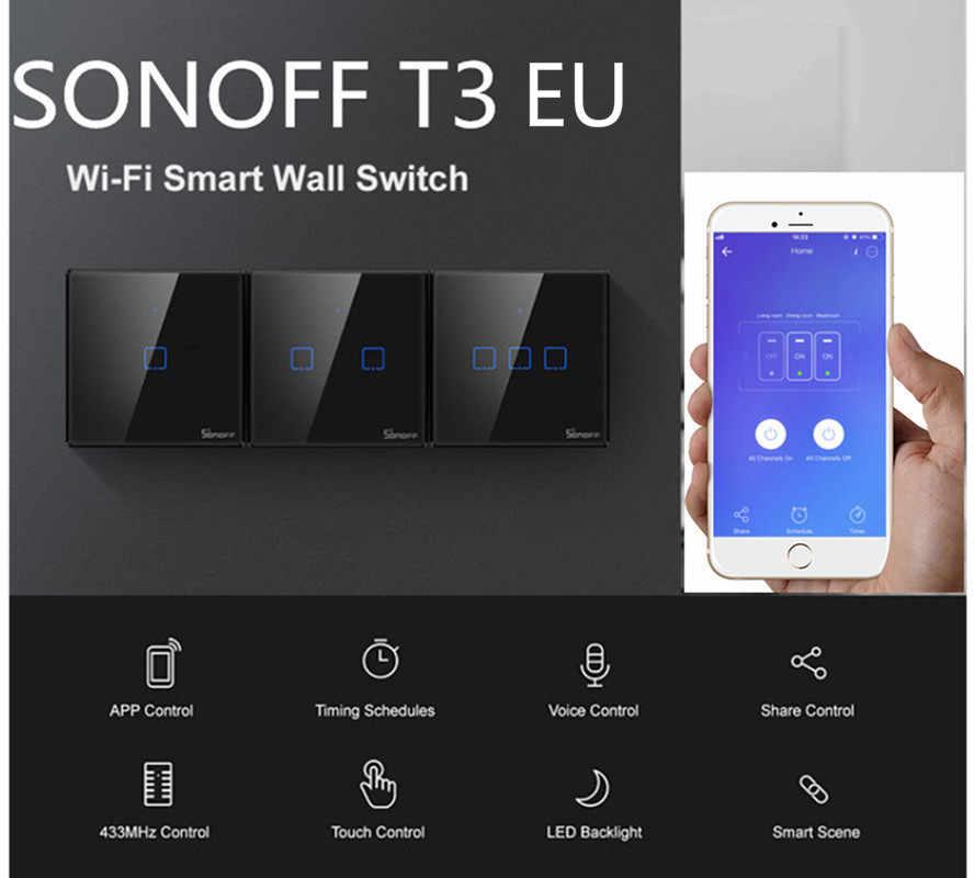 Sonoff T3 EU 1/2/3 ギャング 120 サイズ TX 433 433mhz の Rf リモート処理制御無線 Lan スイッチとボーダー Alexa Google ホームで動作