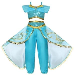 Image 3 - 夏のドレスジャスミンドレス子供の王女の衣装子供カーニバル誕生日パーティーの服コスプレアクセサリーかつら