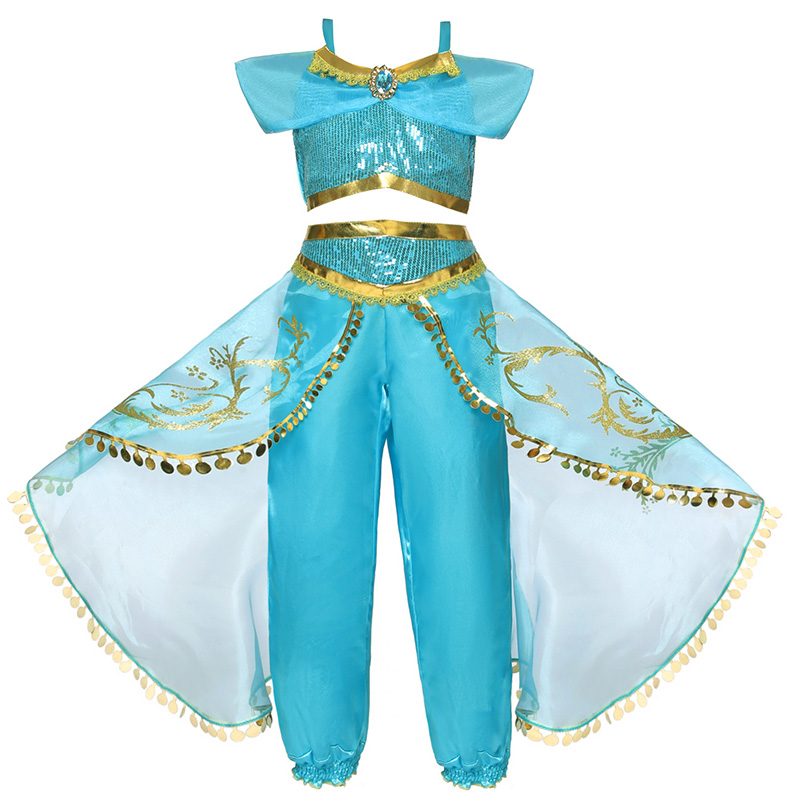 Image 3 - Dress For Girls Jasmine Dress Kids Princess Costume Children Carnival Birthday Party Clothes Cosplay Clothing Accessory WigDresses   -