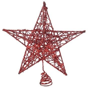 New Christmas Tree Topper Treetops Xmas Decoration Ornament Tree Topstar Decorations Shiny Festival Decorative(20CM Red five-poi