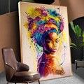 Портрет Африканской женщины Акварель картина маслом на холсте Современные настенные художественные плакаты и принты графические картины ...