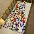 Runway 2021 Summer holiday Sexy Spaghetti Strap backless midi Dress Women's party Flower Print Dresses Vestdios y449