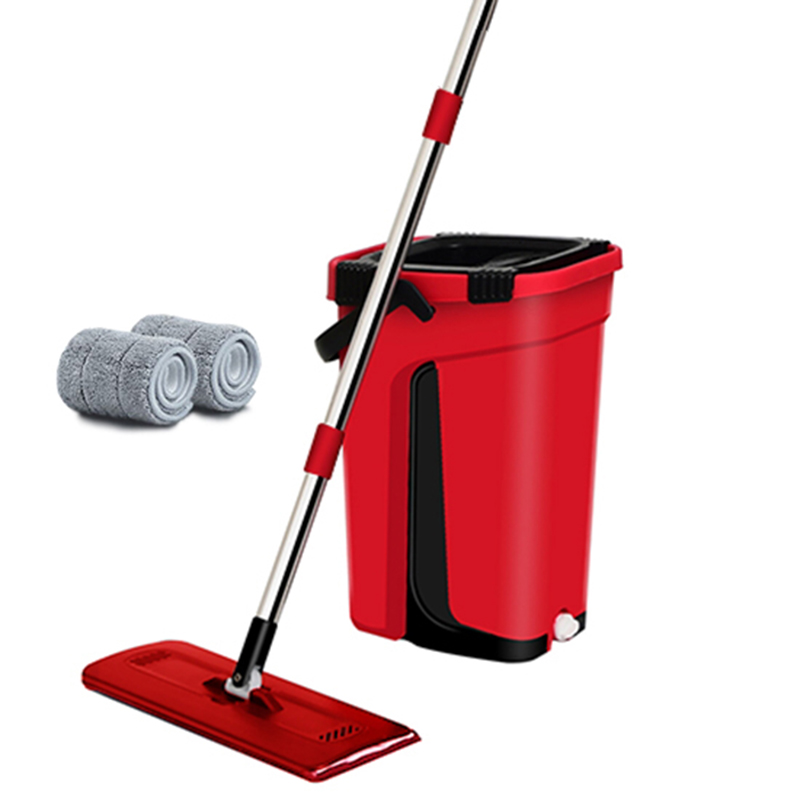 Flat Squeeze Mop Bucket Hand Free Wringing Stainless Steel Mop Self Wet And Cleaning System Dry Cleaning Microfiber Floor Mop