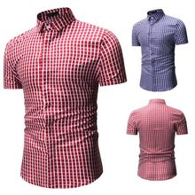 Red And Blue Plaid Shirt Men Shirts Blouses 2020 New Summer Fashion Mens Short Sleeve Blouse Novelty Tops Males Clothing Chic chic embroidered chinese style blouses tops women summer short sleeves vintage shirts a276