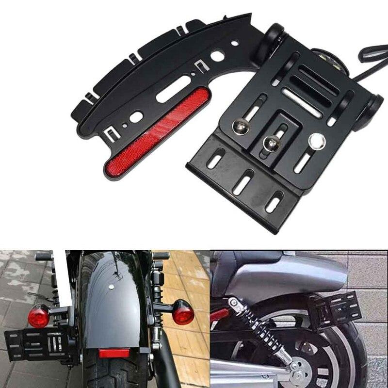 Черный мотоциклетный складной светильник с боковым креплением для номерного знака для Harley Sportster xL 883 1200 2004 2016 Sporster модели с