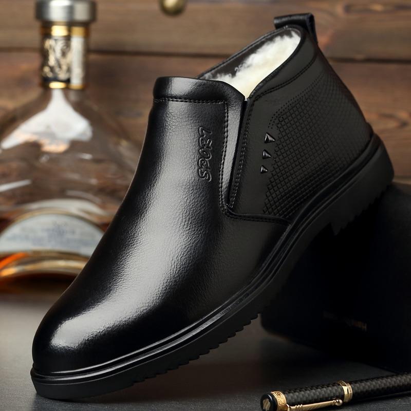 2019 nova moda homens trabalhar botas de couro frio inverno quente botas de neve dos homens sapatos de couro genuíno de lã botas de algodão calçado masculino - 5