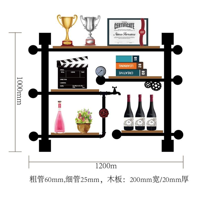 CF3 Retro Design Vintage Wine Rack Wooden Bar Kitchen Wine Storage Shelf Holder Made Of Iron Pipes,boards