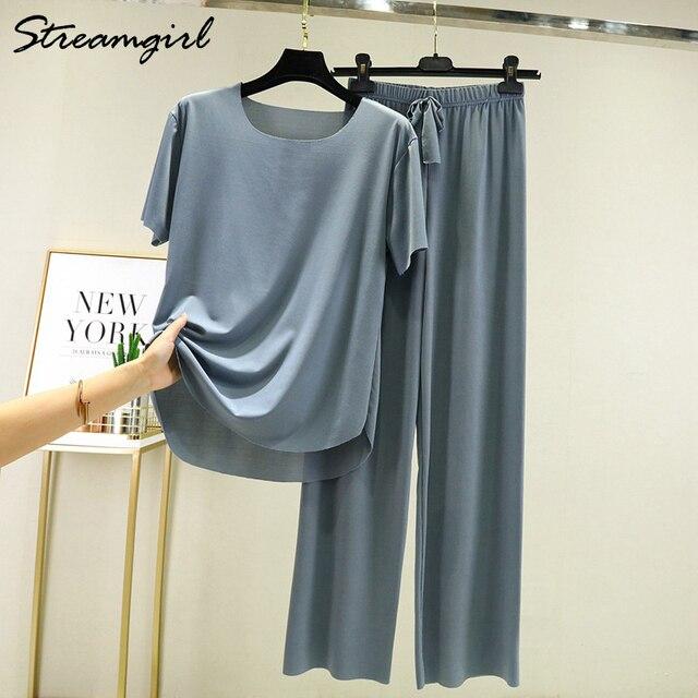 Summer Ice Silk Pants Sets Women Loose T Shirt 2 Piece Wide Leg Pants Woman Soft Ice Silk Pant Suits Summer Sets Womens 2021 5