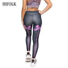 HIFOLK Women Casual Leggings Clothing Fitness Push Up Sexy Bow Digital Printing Leggings Slim Elastic High Waist Black Leggings