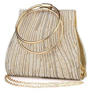 Image 1 - 女性のイブニングバッグダイヤモンドラインストーンクラッチクリスタル日レディ財布結婚式の財布パーティー宴会シルバーハンドバッグクラッチ