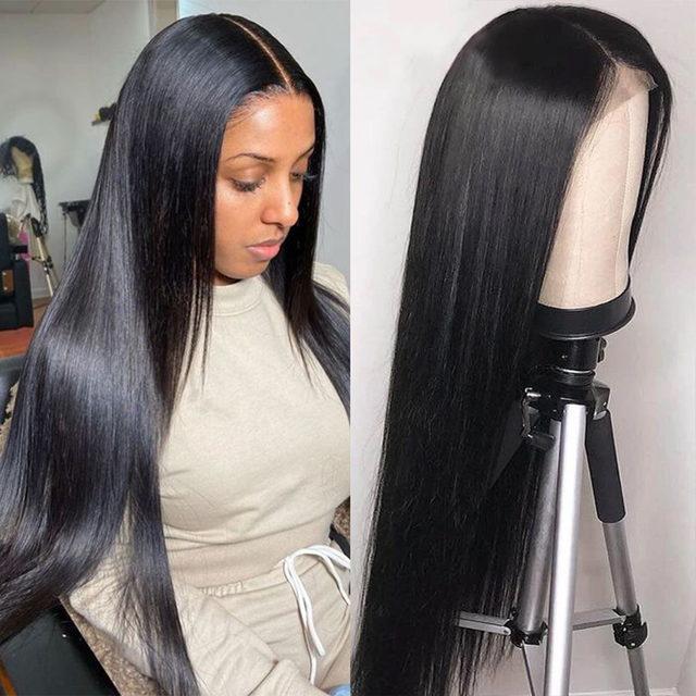 Sapphire 4x4 Lace Closure Wig  Straight Pre Plucked Human Hair Wigs Bleached Knots Brazilian 13x4 Lace Front Wig For Women