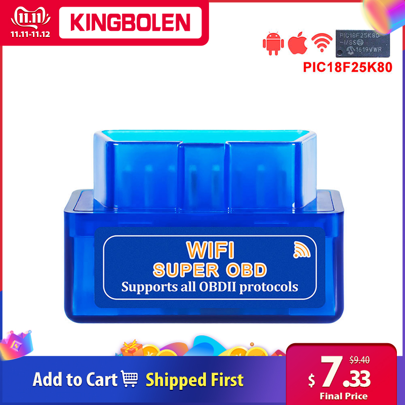 ELM327 WiFi Super Mini V1.5 Chip PIC18F25K80 OBD II Car Diagnostic Tool IOS/Android ELM 327 WiFi OBD2 Code Reader
