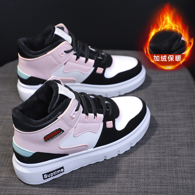 2020 Women Fashion Sneakers Winter Breathable Women Casual Shoes High Top Thick bottom vulcanized shoes Plus velvet Trendy shoes