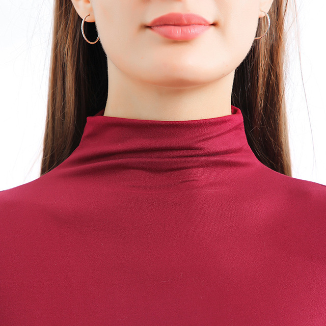 Plus Size Turtleneck Sweater Women Winter Autumn Long Sleeve Elasticity Bottoming Tops Solid Color Slim Fit Warm Knit Pullovers 3