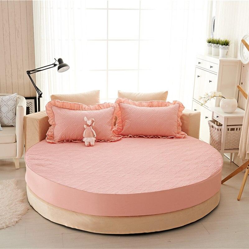 Princesa rodada folha 100% algodão acolchoado tampa de cama lençol 3 pçs/set círculo elástico rei, super king size engrossar algodão pad