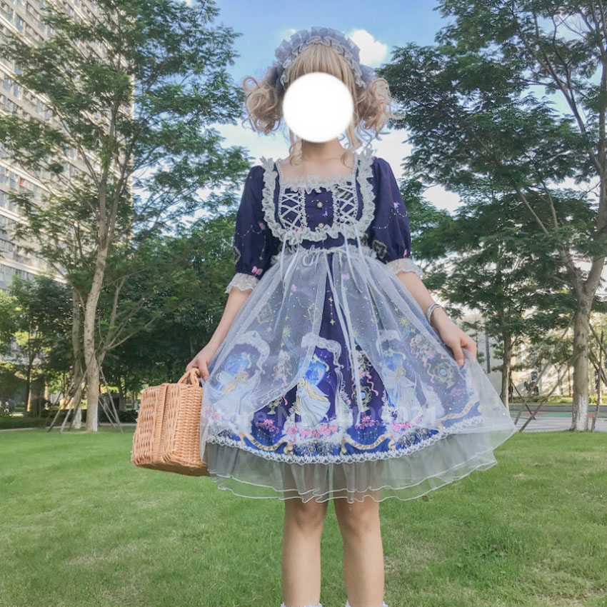 <font><b>Lolita</b></font> Dress Women Ruffle Lace Pleated Printed Patterns Kawaii JSK OP Tulle Pearl Soft Sister Collage Style Cute Tea Party Skirt image