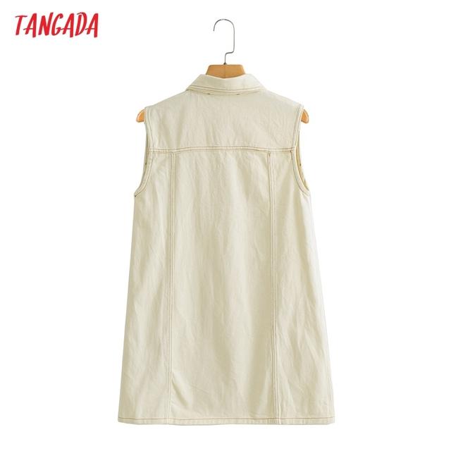 Tangada Women Solid Denim Short Dress Pocket Sleeveless 2021 Fashion Lady Elegant Dresses Vestido YI10 6