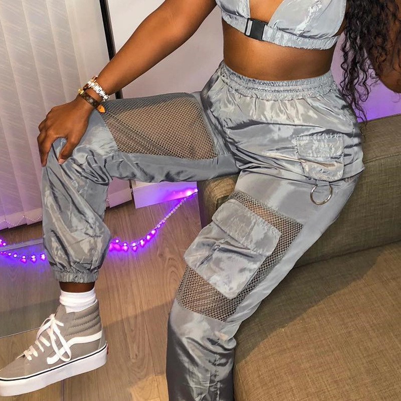 2020 New Mesh Patchwork Pants Breathable Women Loose Casual Harem Trousers Pockets Grey Capris Mujer Cargo Pantalons