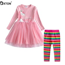 Dxton 2PCS Girls Clothes Children Clothing Sets Long Sleeve Dress with Rainbow Pants Flowers Girls Sets Winter Kids Costume 2-8Y continental contisportcontact 5 suv 235 65 r18 106w