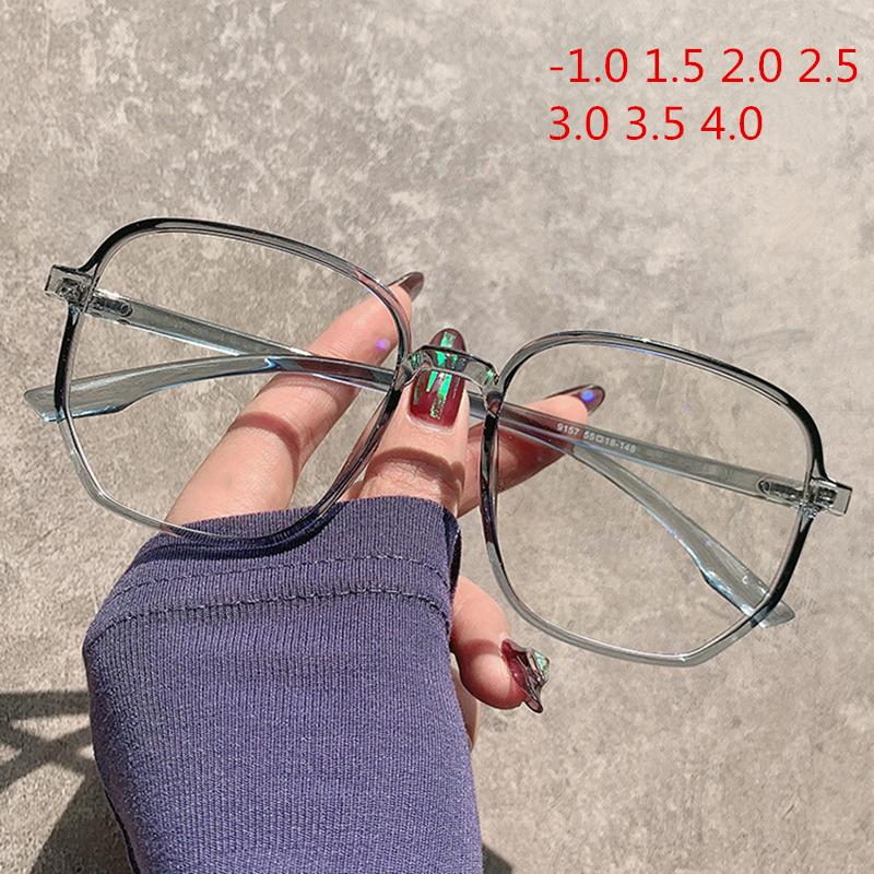 1.0 1.5 2.0 2.5 3.0 3.5 4.0 Finished Myopia Glasses Women Men Vintage Oversized Eyeglasses Student Short Sight Eyewear