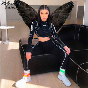 Image 1 - Women Two Piece Set 2018 Tracksuit casual Fitness Fashion Slim Sexy High Waist  full sleeve full length o neck letter