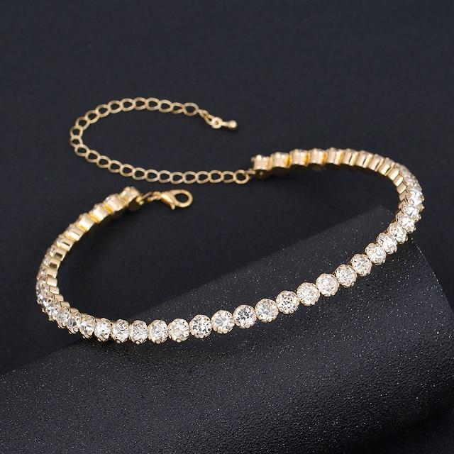 TREAZY Bridal Fashion Crystal Rhinestone Choker Necklace Women Wedding Accessories Tennis Chain Chokers Jewelry Collier Femme 6