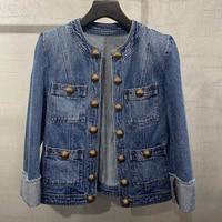 Women Fashion Lady Jeans Coat Striped Wide waisted Jacket long Sleeve o neck 2020 new Women High Quality Jacket