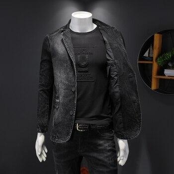 Denim jacket male tide new Korean spring and autumn handsome trend spring wild suit collar men's casual jacket