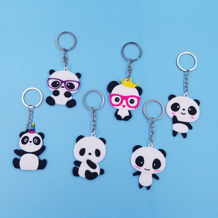 Silicone Funny Cute Cartoon Animal Panda Expression Action Keychain Women Car Keyring Backpack School Bag Pendant Girls KC220