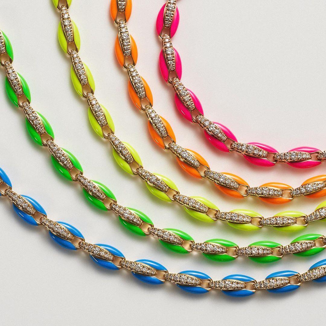Gold Color Fashion Colorful Women Jewelry Top Quality White 5A CZ 7 Colors Neon Enamel Bead Link Chain Bracelet Necklace Set