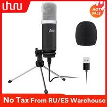 Microfone usb 192khz/24bit uhuru, condensador e condensador, com tripé e suporte para computador, youtube