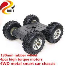 SZDOIT 4WD Metal Smart Robot Car Chassis Kit 130mm Rubber Wheel High Torque DC Motor Heavy Load DIY For Arduino Education DIY 4wd smart car robot chassis ultrasonic module remote learning starter kit for arduino programmable diy kits educational toy car