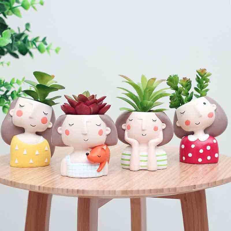 4 Pcs/set Flower Girl Planter European Style Succulent Plants Planter Pot Mini Bonsai Cactus Flower Pot Home Decor Craft|Flower Pots & Planters| - AliExpress