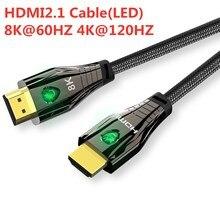 Hdmi 2.1 cabo 4k 120hz hdmi de alta velocidade 8k 60 hz uhd hdr 48gbps cabo hdmi ycbcr4: conversor de 4:4 para projetores ps4 hdtvs