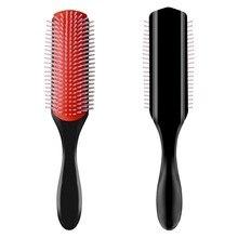 9-linhas detangling escova de cabelo denman detangler escova de cabelo do couro cabeludo massageador em linha reta encaracolado pente de cabelo molhado