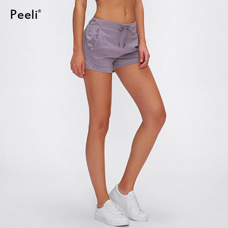 Peeli Nylon Sports Short Women Fitness Jogger Shorts High Waist Solid Workout Gym Shorts Soft Tummy Control Athletic Leggings