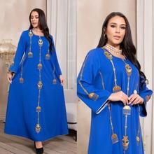 Spring New Arrival Dubai Dress Abayas For Women Islamic Women's Clothing Muslim Fashion World Apparel Robe Long Blue Embroidery
