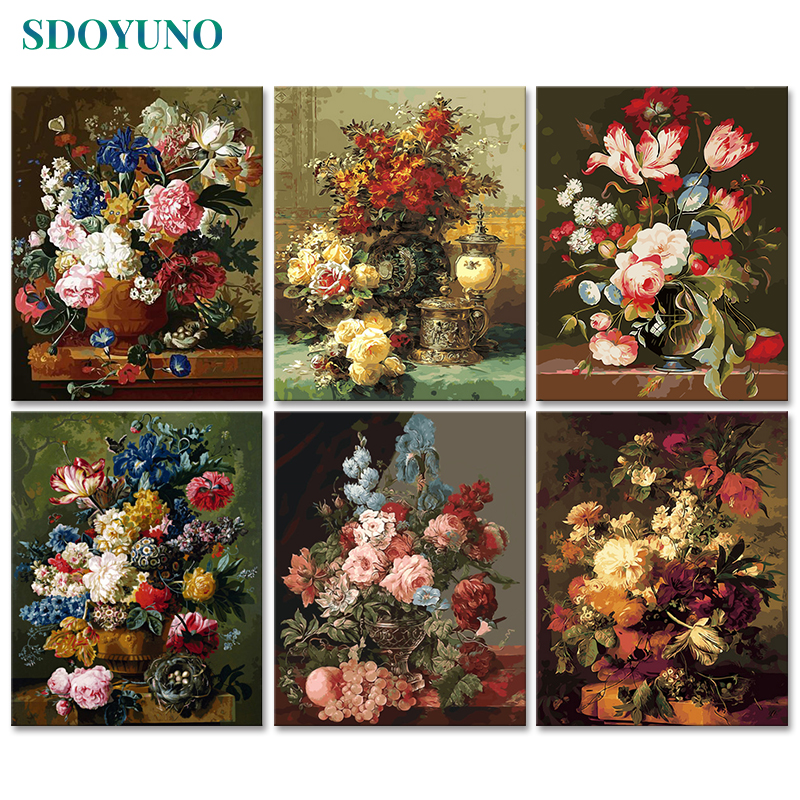 SDOYUNO 60x75cm Painting By Numbers For Adults Flowers DIY Picture By Numbers On Canvas Frameless Home Decor Unique Gift