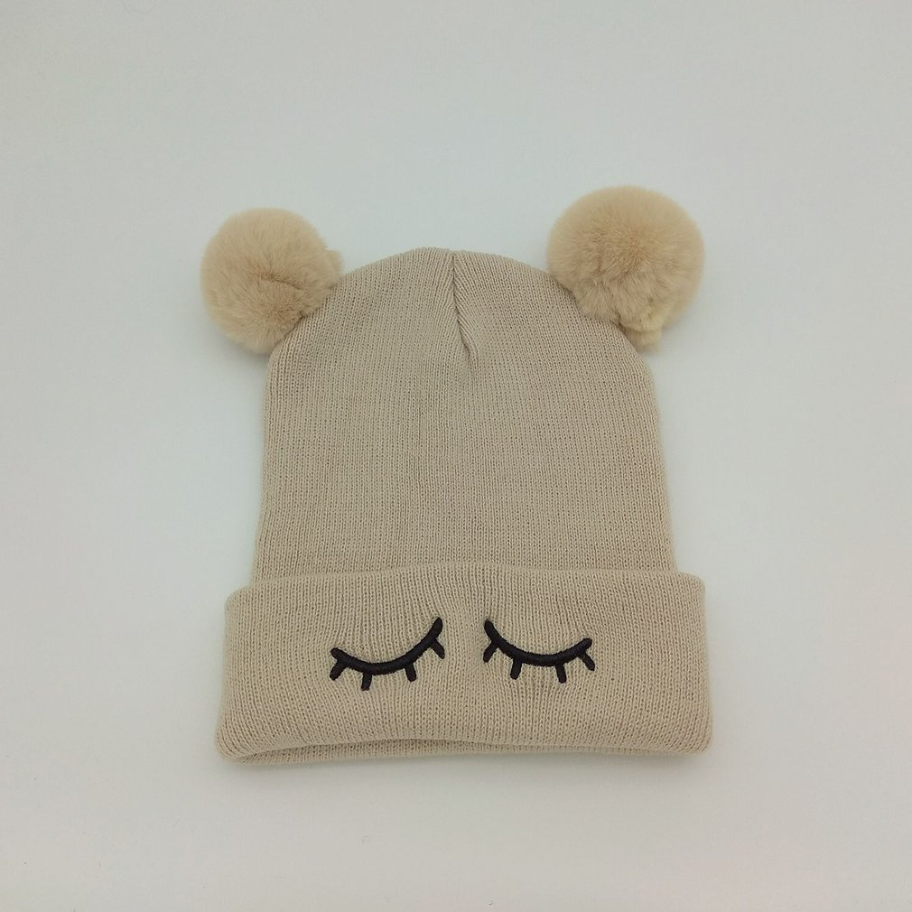 Winter Fashion Simple Baby Warm Cap Hairball Knitted Hat Kids Cute Knitting Cap Outdoor Baby Warm Hat