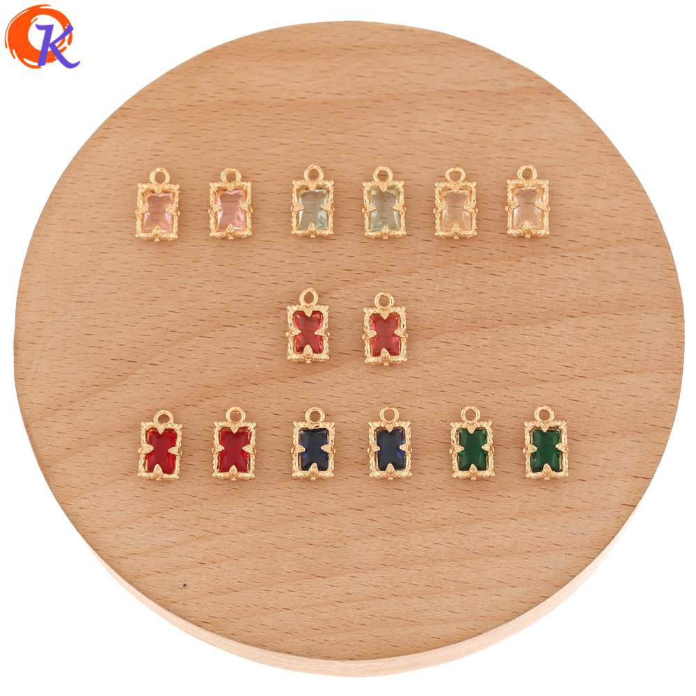 Cordial Design 100Pcs 7*11MM Jewelry Accessories/Hand Made/Pendant/Rectangle Shape/Earring Findings/DIY Making/Crystal Charms