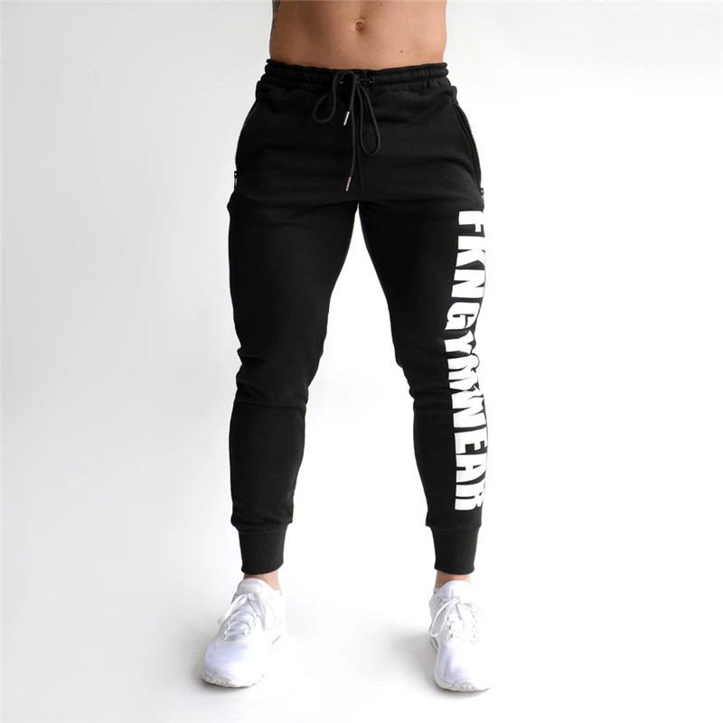 2019 Autumn Gyms Men's Pants Joggers Skinny Sweat Pants Printing Tights Sweatpants For Men Side Zipper Sheer Trouser Pants