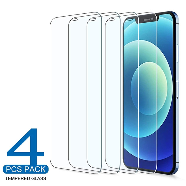 4Pcs Tempered Glass For iPhone 11 12 Pro XS Max X XR Full Cover Screen Protector For iPhone 7 8 6 6S Plus SE2 Protective Glass 1