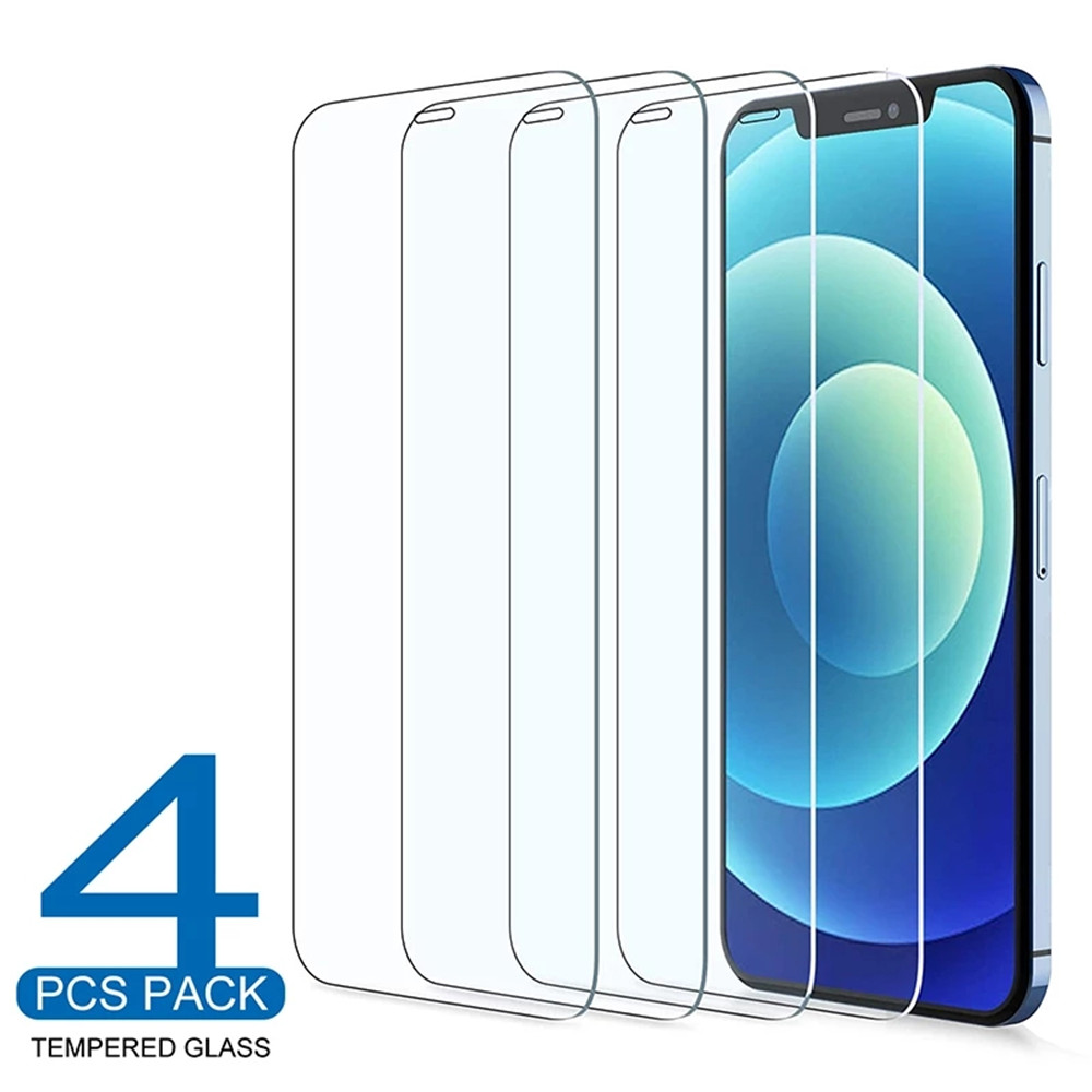 4 шт. закаленное стекло для iPhone 11 12 Pro XS Max X XR полное покрытие Защита экрана для iPhone 7 8 6 6S Plus SE2 защитное стекло